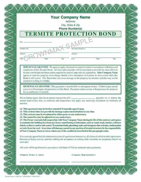 7262 Termite Protection Bond Crownmax Com