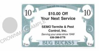 8222 Bug Bucks Doorhanger