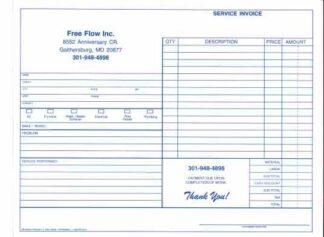 7233 - Plumbing Service Invoice