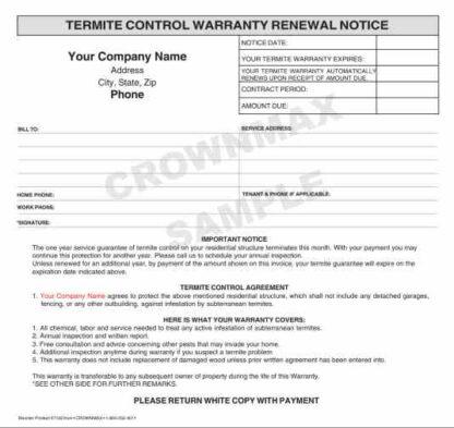 7193 Termite Control Warranty Renewal
