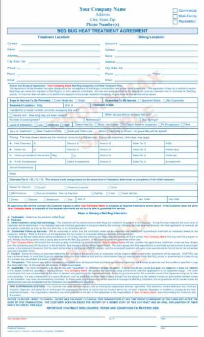 7186 Bed Bug Heat Treatment Agreement