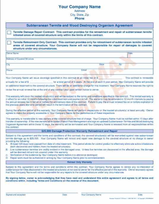 7178 Subterranean Termite Agreement 2 Pt Crownmax