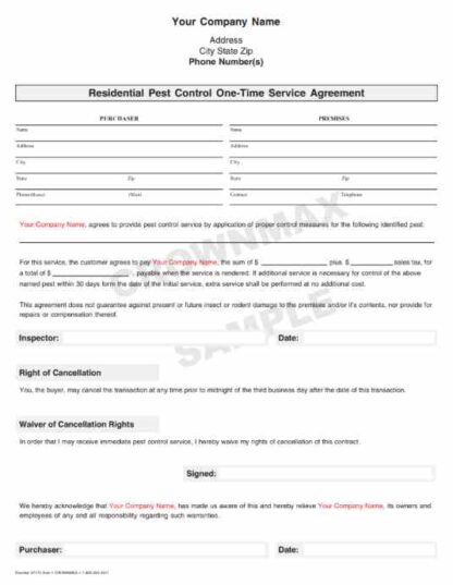 7175 Residential . 1-Time Service Agreement