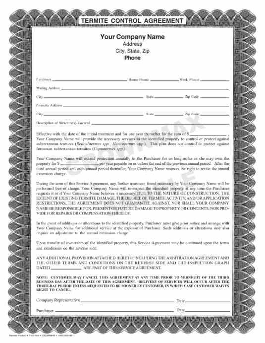 7163 Termite Control Agreement 3 Pt Crownmax