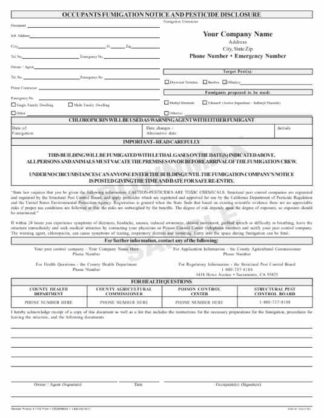 7132 CA Occupants Fumigation Notice & Pesticide Disclosure