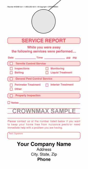 8248 Service Report Doorhanger