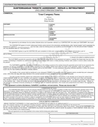 7109 Subterranean Termite Agreement - Repair & Retreat