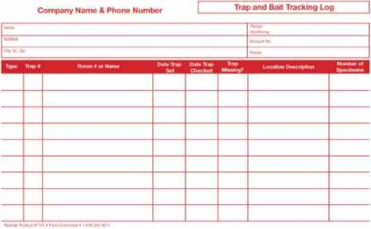 7101 Trap & Bait Tracking Log