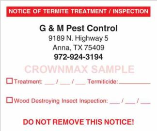 7010 Notice of Termite Treatment / Inspection