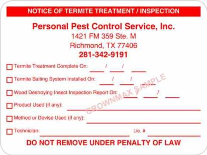7009 Notice of Termite Treatment Inspection