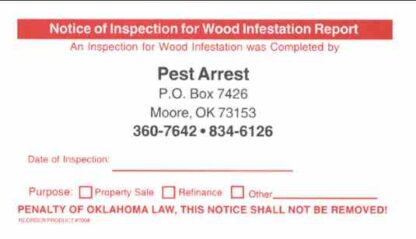 7008 Oklahoma Notice of Inspection Label