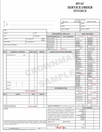 6833 HVAC Service Order / Invoice