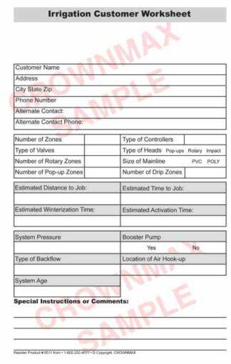 6512 Irrigation Worksheet