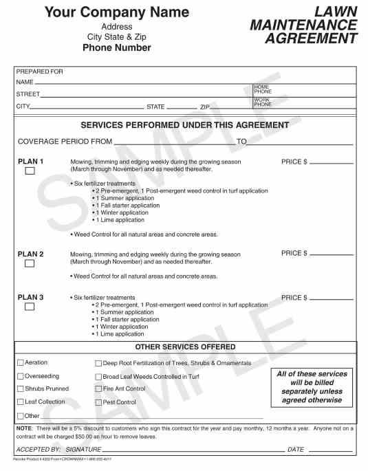 Superb 4203 Lawn Maintenance Agreement