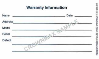 3450 Warranty Information Sticker