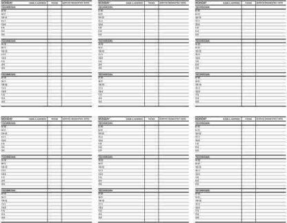 2792 Weekly Service Schedules - 26 weeks