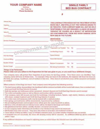 2613 Single Family Bed Bug Contract