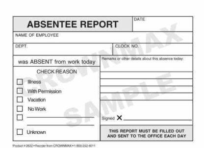 2622 Absentee Report