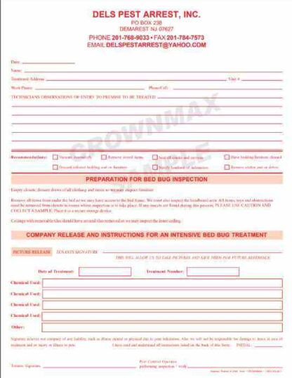2547 Bed Bug Inspection and Treatment Form