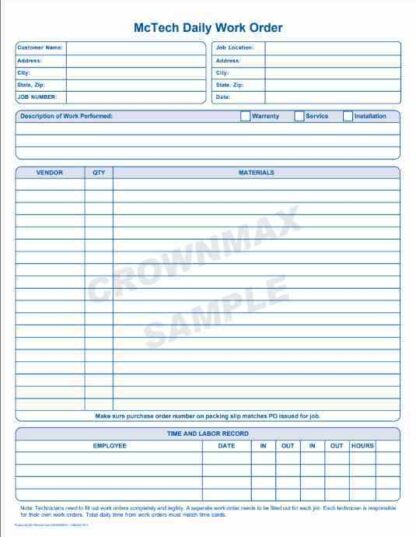 2251 Daily Work Order