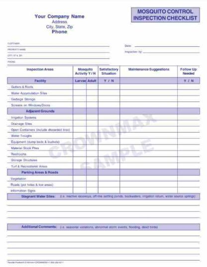 2150 Mosquito Control Inspection Checklist