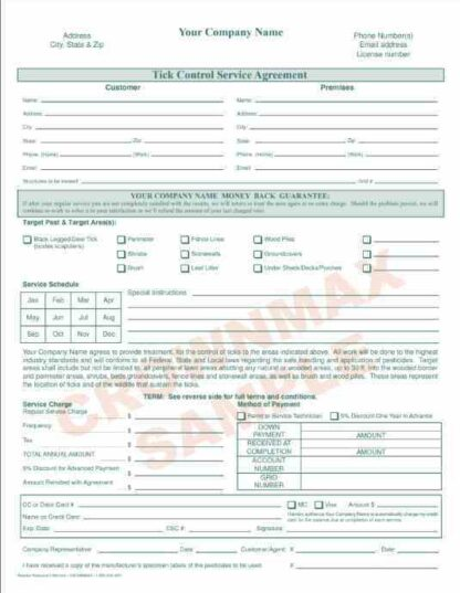 2168 Tick Control Service Agreement