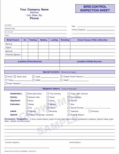 2155 Bird Control Inspection Sheet