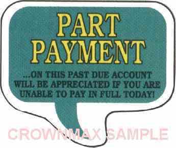 1634 Part Payment Label