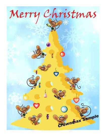 1227 Merry Christmas - Mice w-cheese tree