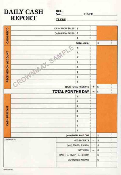 0757 Daily Cash Report Envelope