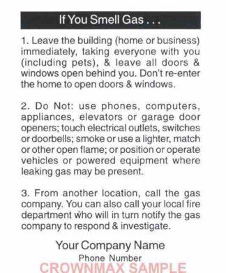 0171 Emergency Information Label - Gas leaks