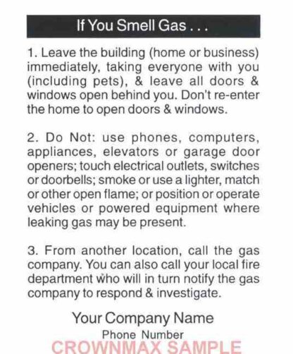 0171 Emergency Information Label - Gas leaks