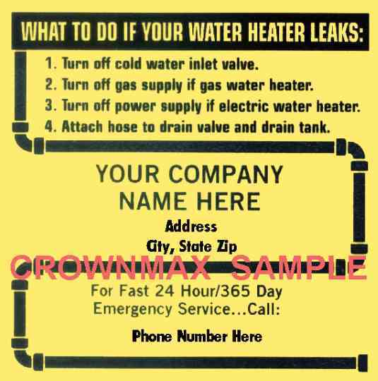 0151 – Water Heater Service Label - Crownmax com
