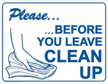 21867 Please Before You Leave Clean Up Hand Logo