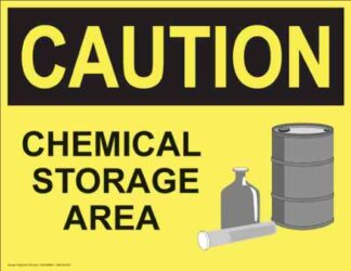 21324 Caution Chemical Storage Area Barrel And Flask