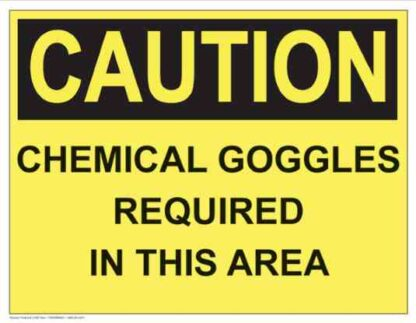 21287 Caution Chemical Goggles Required (Yellow)