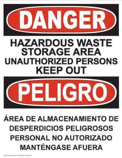 21281 Danger Hazardous Waste Storage Area Bilingual