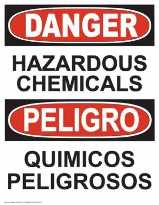 21280 Danger Hazardous Chemicals Vertical Bilingual