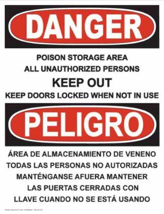 21277 Danger Poison Storage Area Bilingual Vertical