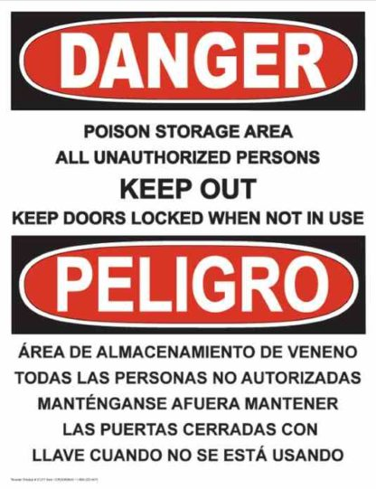 21277 Danger Poison Storage Area Bilingual Vertical