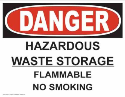 21258 Danger Hazardous Waste Storage Flammable