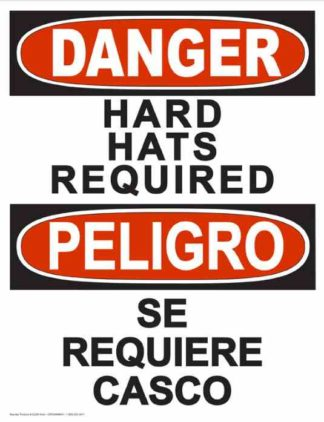 22847 Danger Hard Hats Required (Vertical Bilingual)