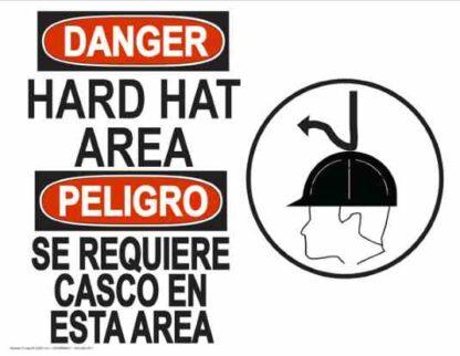 22846 Danger Hard Hat Area (Bilingual) Hard Hat Arrow