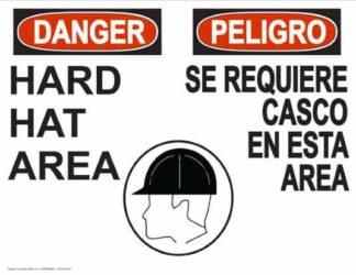 22845 Danger Hard Hat Area (Bilingual) Hard Hat Head Side