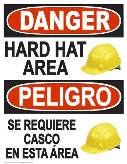 22844 Danger Hard Hat Area (Vertical Bilingual) Hat