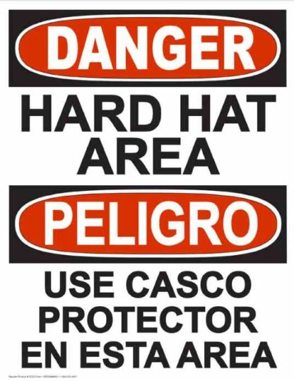 22843 Hard Hat Area (Vertical Bilingual)
