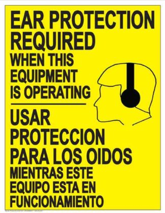22842 Ear Protection Required (Bilingual Yellow)