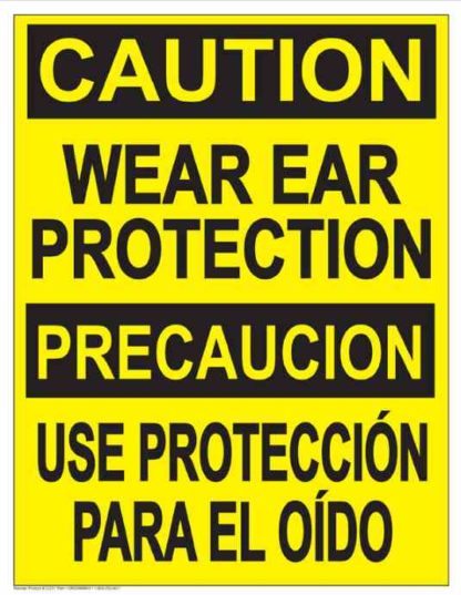 22839 Caution Wear Ear Protection (Vertical Bilingual)