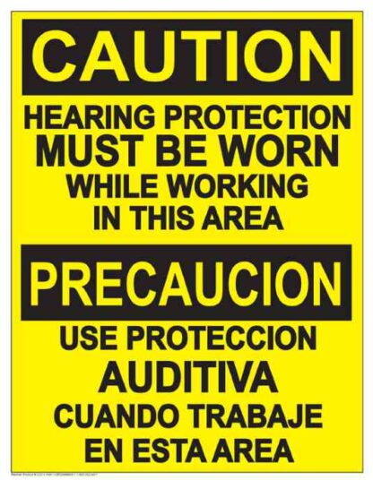 22838 Caution Hearing Protection Must Be Worn Bilingual