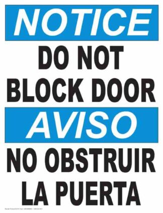 22855 Notice Do Not Block Door (Vertical Bilingual)